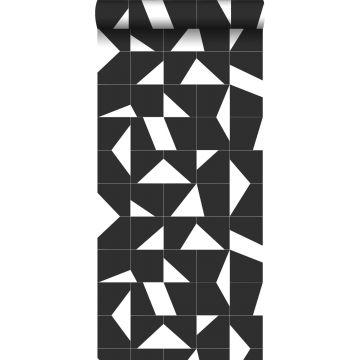 behang tegelmotief zwart wit