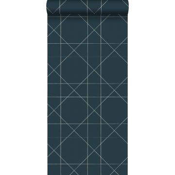 behang grafische lijnen donkerblauw
