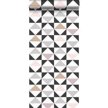 behang grafische driehoeken wit, zwart, warm grijs en oudroze