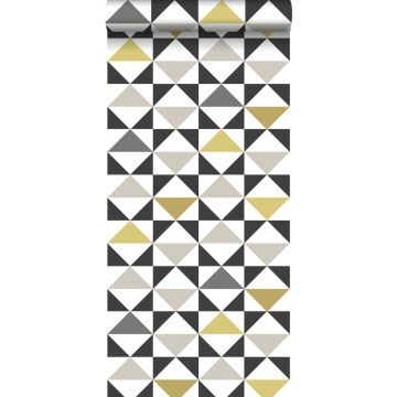 behang grafische driehoeken wit, zwart, grijs en okergeel