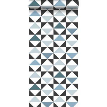 behang grafische driehoeken wit, zwart, vintage blauw en lichtblauw