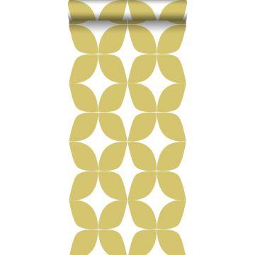 behang grafisch motief okergeel en wit