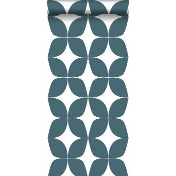 behang grafisch motief vergrijsd donker blauw en wit