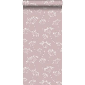 behang schermbloemen oudroze en wit