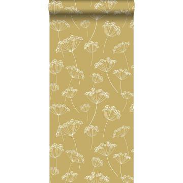 behang schermbloemen okergeel en wit