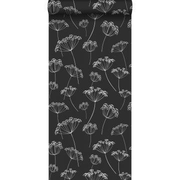behang schermbloemen zwart wit
