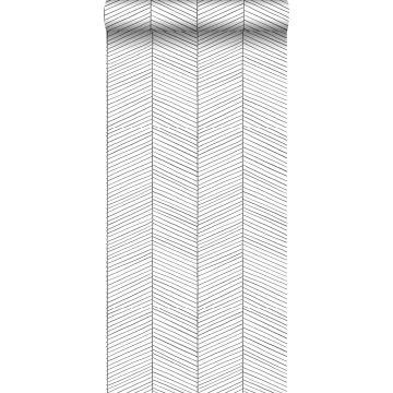behang visgraat-motief zwart wit
