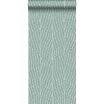 behang visgraat-motief vergrijsd mintgroen