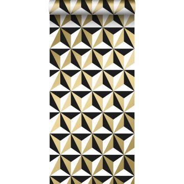 behang grafisch motief glanzend goud, wit en zwart