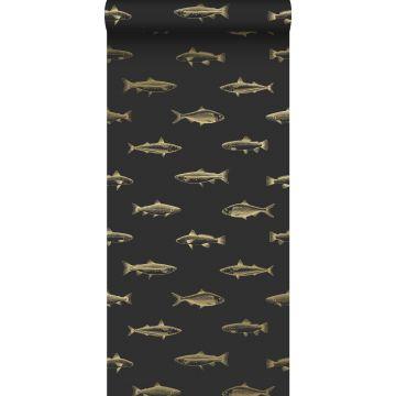 behang pentekening vissen zwart en goud