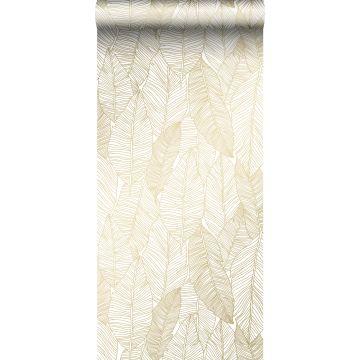 behang getekende bladeren wit en goud