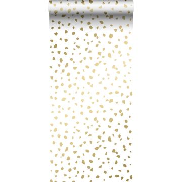 behang terrazzo wit en goud