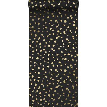 behang terrazzo zwart en goud