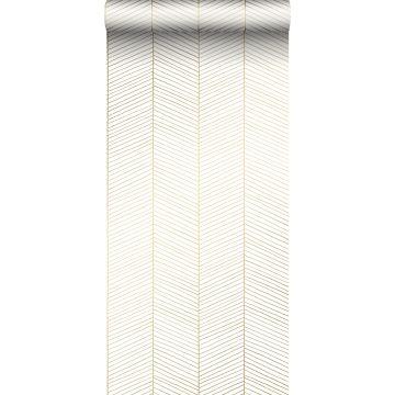 behang visgraat-motief wit en goud