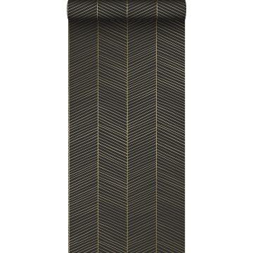 behang visgraat-motief zwart en goud