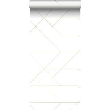 behang grafische lijnen wit en goud