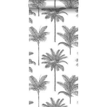 behang palmbomen zwart wit