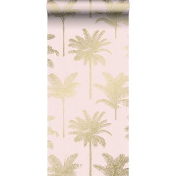 behang palmbomen zacht roze en goud