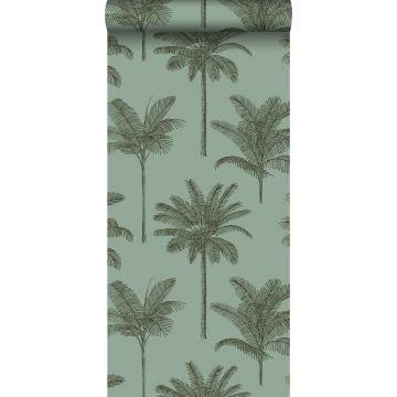 behang palmbomen vergrijsd groen