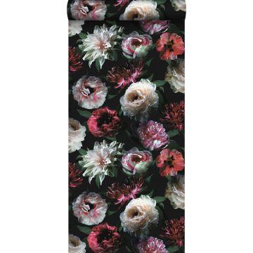 behang bloemen roze, zwart en donkergroen