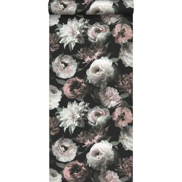 behang bloemen zwart, wit en zacht roze