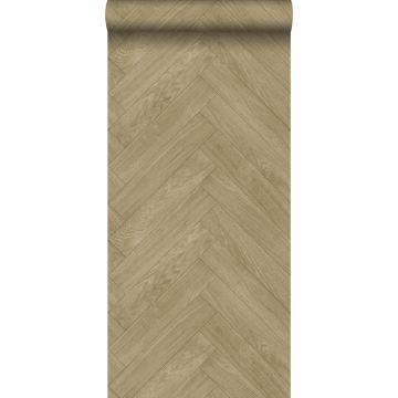 behang hout motief donker beige