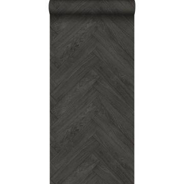behang hout motief donkergrijs