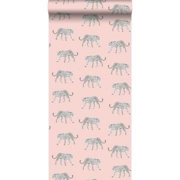 behang panters zacht roze