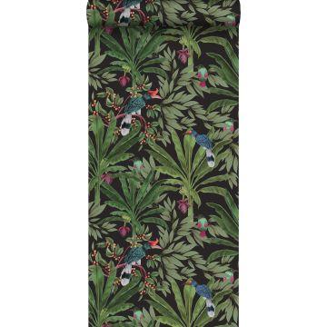 behang tropische jungle bladeren zwart en jungle groen