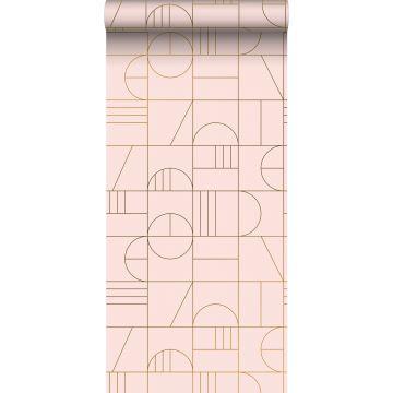 behang art deco motief zacht roze en goud