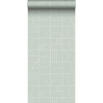 behang art deco motief mintgroen en wit