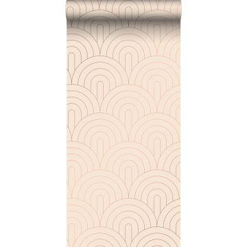 behang art deco motief licht perzikroze en roségoud