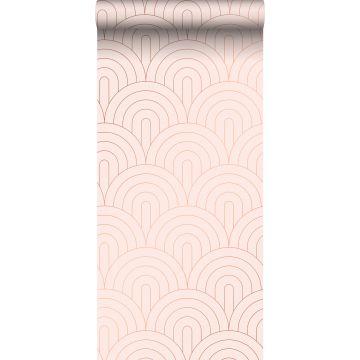 behang art deco motief zacht roze en roségoud