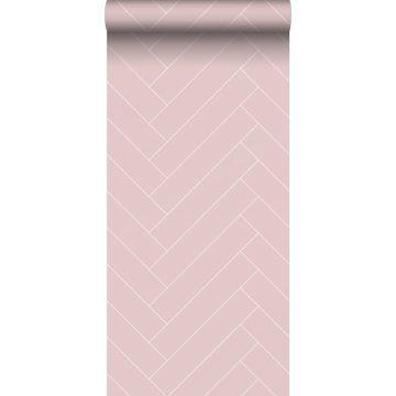 behang visgraat-motief oudroze en wit