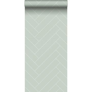 behang visgraat-motief mintgroen en wit