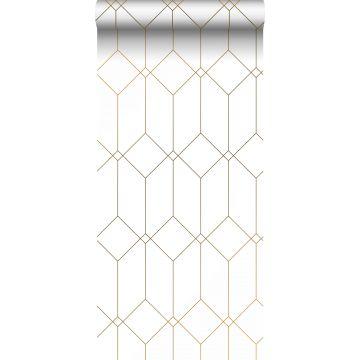 behang art deco motief wit en goud