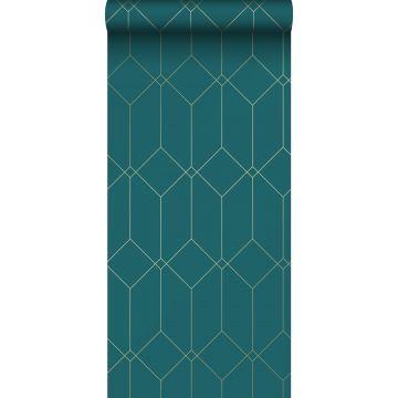behang art deco motief goud, groen en blauw