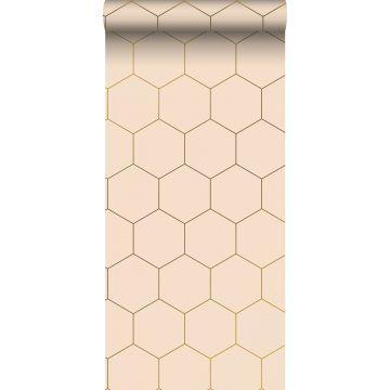 behang hexagon licht perzikroze