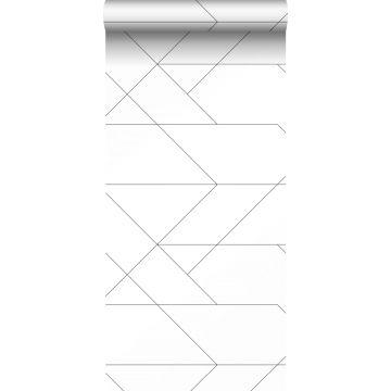 behang grafische lijnen zwart wit