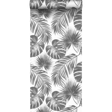 behang tropische bladeren zwart wit