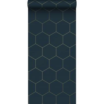 behang hexagon-motief donkerblauw en goud