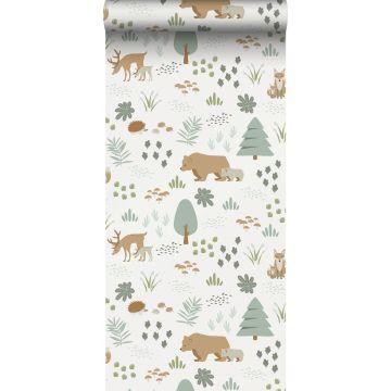 behang bos met bosdieren wit, groen en beige