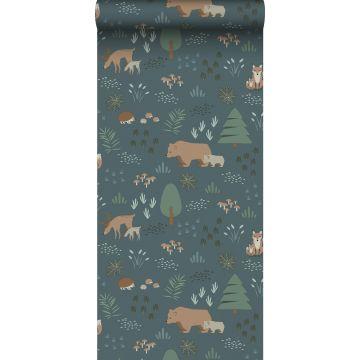 behang bos met bosdieren vergrijsd blauw, groen en beige