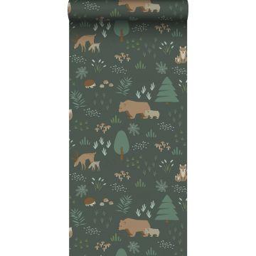 behang bos met bosdieren donkergroen en beige
