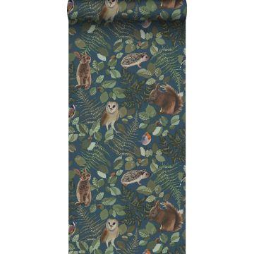 behang bosdieren donkerblauw, groen en bruin