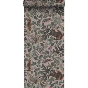 behang bosdieren oudroze, groen en bruin