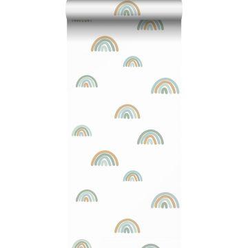 behang regenboogjes vergrijsd blauw, lichtblauw en beige