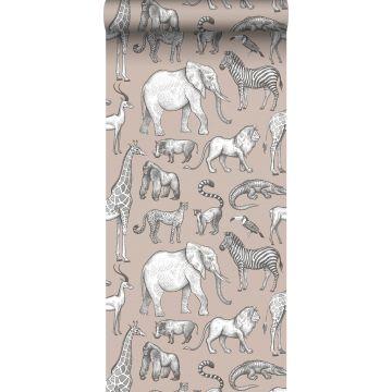 behang jungle dieren oudroze en grijs