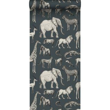 behang jungle dieren vergrijsd blauw en grijs