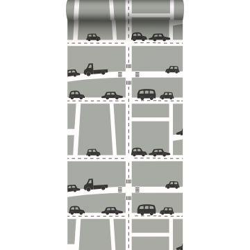 behang auto's grijs, zwart en wit